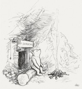 """""""Pooh Shepard1928"""" by Illustration to page 3 of Winnie-the-Pooh (1926) by artist E. H. Shepard. Scan from Bibliodyssey. Licensed under Fair use of copyrighted material in the context of Winnie-the-Pooh via Wikipedia - http://en.wikipedia.org/wiki/File:Pooh_Shepard1928.jpg#mediaviewer/File:Pooh_Shepard1928.jpg"""